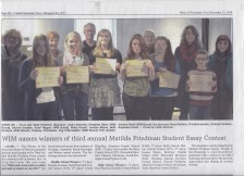 Essay Contest Award Ceremony in the Catskill Mountain News Nov. 16, 2014