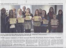 Essay Contest Award Ceremony in The Catskill Mountain News Nov. 16, 2014