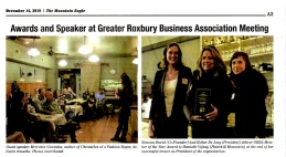 Greater Roxbury Business Association in The Mountain Eagle Dec. 14, 2018