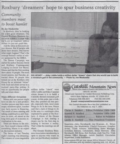 Roxbury Dream Campaign in The Catskill Mountain News March 5, 2014