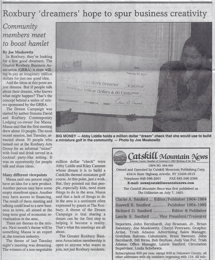 Roxbury Dream Campaign in The Catskill Mountain News March 5, 2014